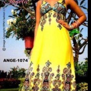 Angela Yellow Paisley Maxi Dress Size Large